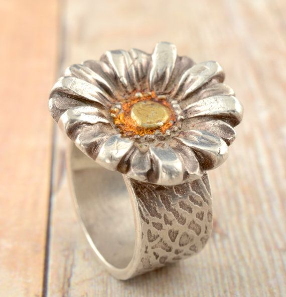 Fine Silver and 24kt Gold Daisy Ring / Artisan Handmade Jewelry / Precious Metal Clay on Etsy, $88.00