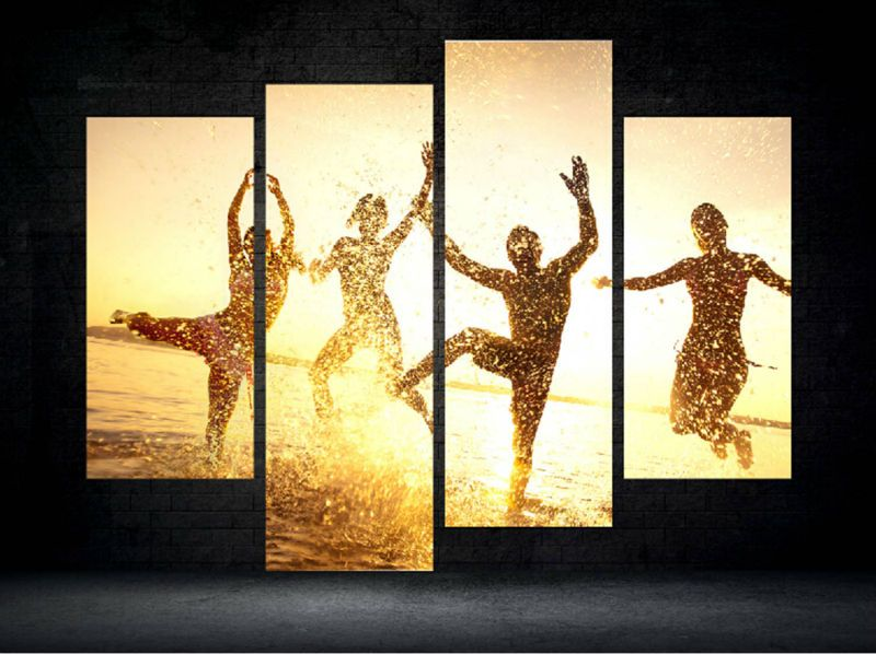 4 Panel Modern Printed Shadow Painting Picture Cuadros Sunset Canvas ...