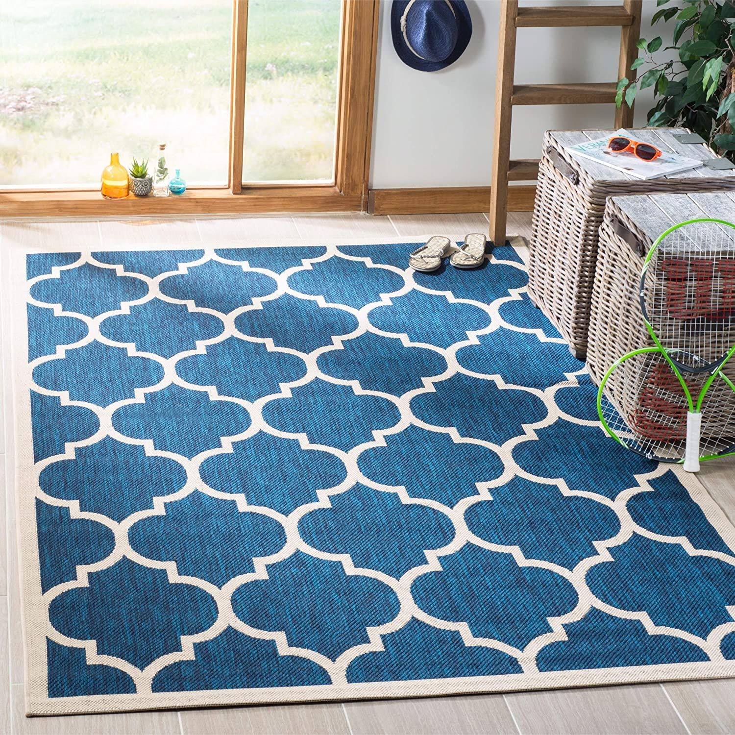 Safavieh Courtyard Collection Cy6914 268 Navy And Beige Indoor Outdoor Area Rug 4 X 5 7 Details Can Be Found By Clicking In 2020 With Images Outdoor Rugs Outdoor Area Rugs