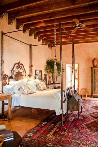 Mexican hacienda style spanish hacienda pinterest for Spanish style bed