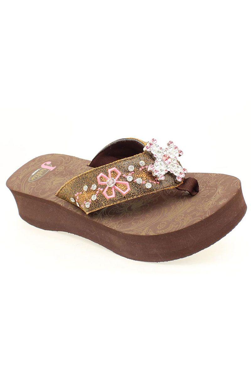 b761f118026f Brown Myra Pink Rhinestone Cross   Embroidery Flip Flop Sandals
