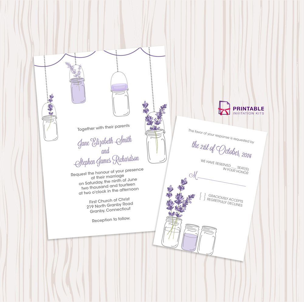 Mason Jar And Lavender Wedding Invitation And Rsvp Wedding Invitations Printable Templates Free Wedding Printables Mason Jar Invitations Template