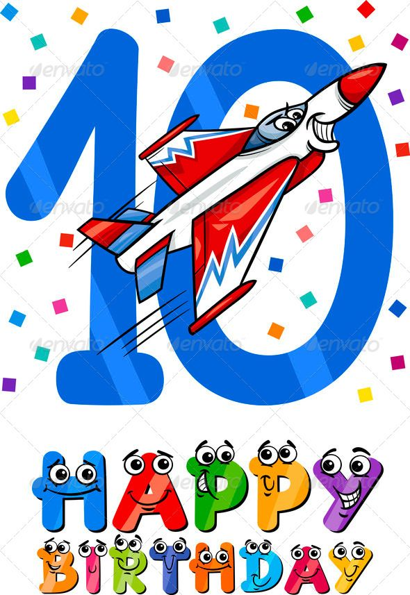 Tenth Birthday Cartoon Design 10th Number 10 Airplane