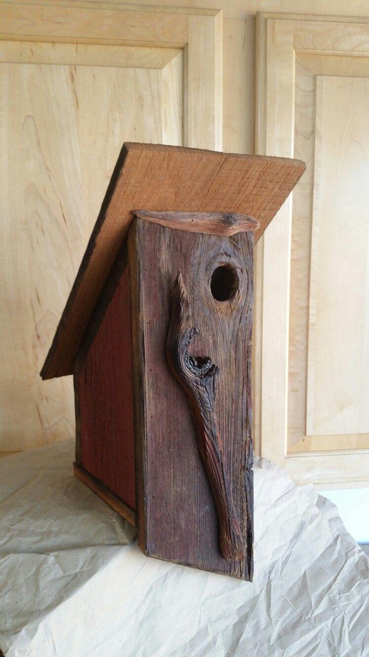 Angled oak roof birdhouse