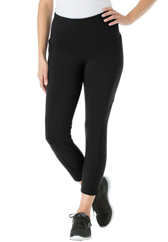 women's plus size smooth waist tummy control capri leggings