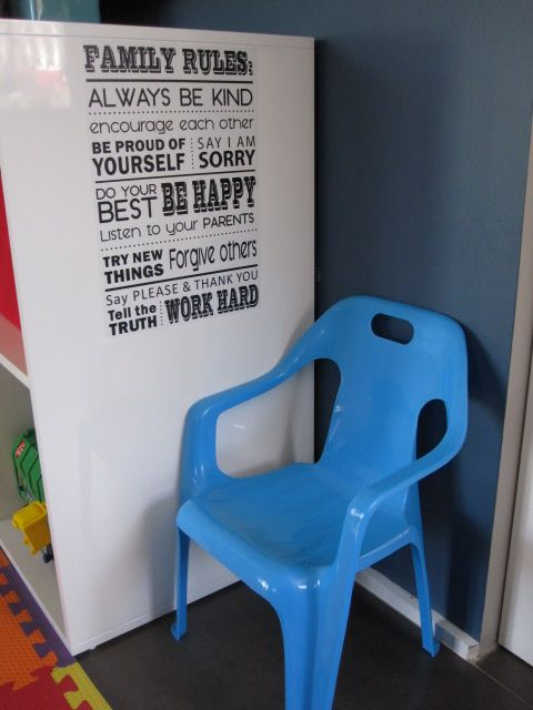Timeout corner, complete with naughty chair and family