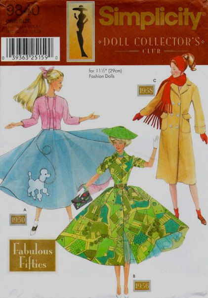 BARBIE DOLL Clothes Sewing Pattern - Fashion Dolls Fabulous Fifties ...