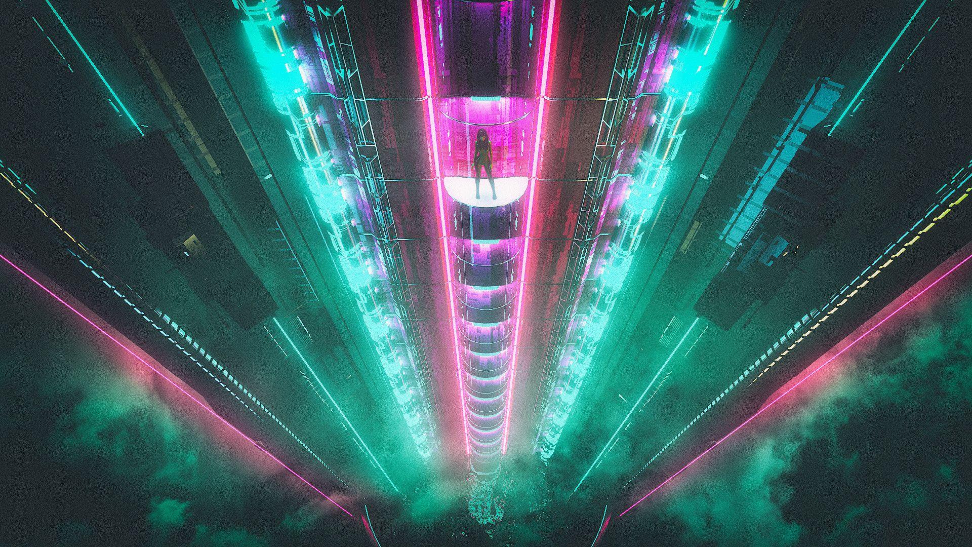 Cyberpunk Elevation by David Legnon [1920x1080