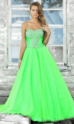 Neon Turquoise Prom Dress