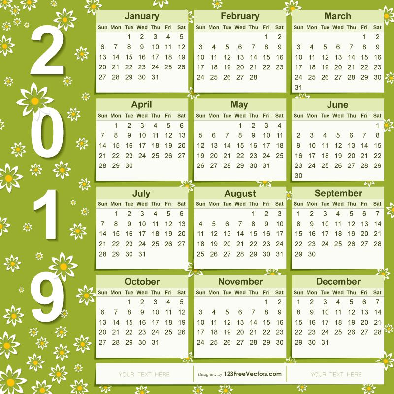 2019 Calendar Design With Flowers