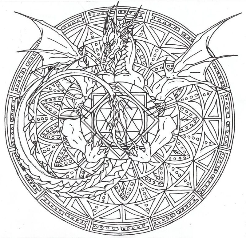 Complicated Coloring Pages For Adults Free To Print With Images Dragon Coloring Page Mandala Coloring Pages