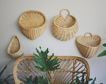 Woven Basket Wall Planter Hanging Planter Boho Decor Wall Decor Succulent Planter Woven Wall Baskets Wal In 2021 Baskets On Wall Basket Wall Decor Wall Planters Indoor