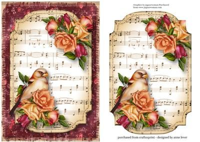 Joy Roses Bird Sheet Music Plaque on Craftsuprint designed by Anne Lever - This lovely topper features gorgeous joy roses and a beautifully painted bird on a sheet music plaque, with a fabric backdrop. It has an extra plaque to decoupage onto the main image. - Now available for download!