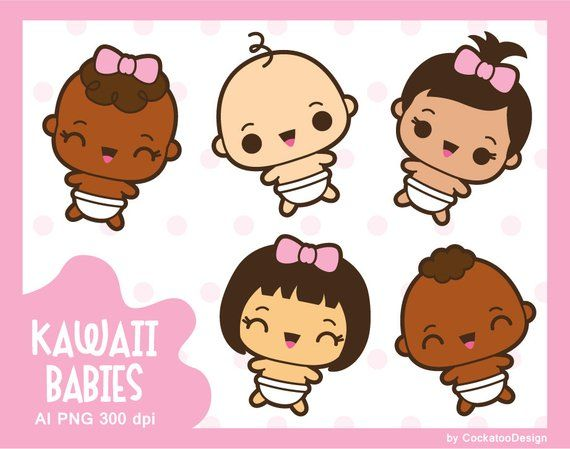 Baby infant. Kawaii clipart cute girl