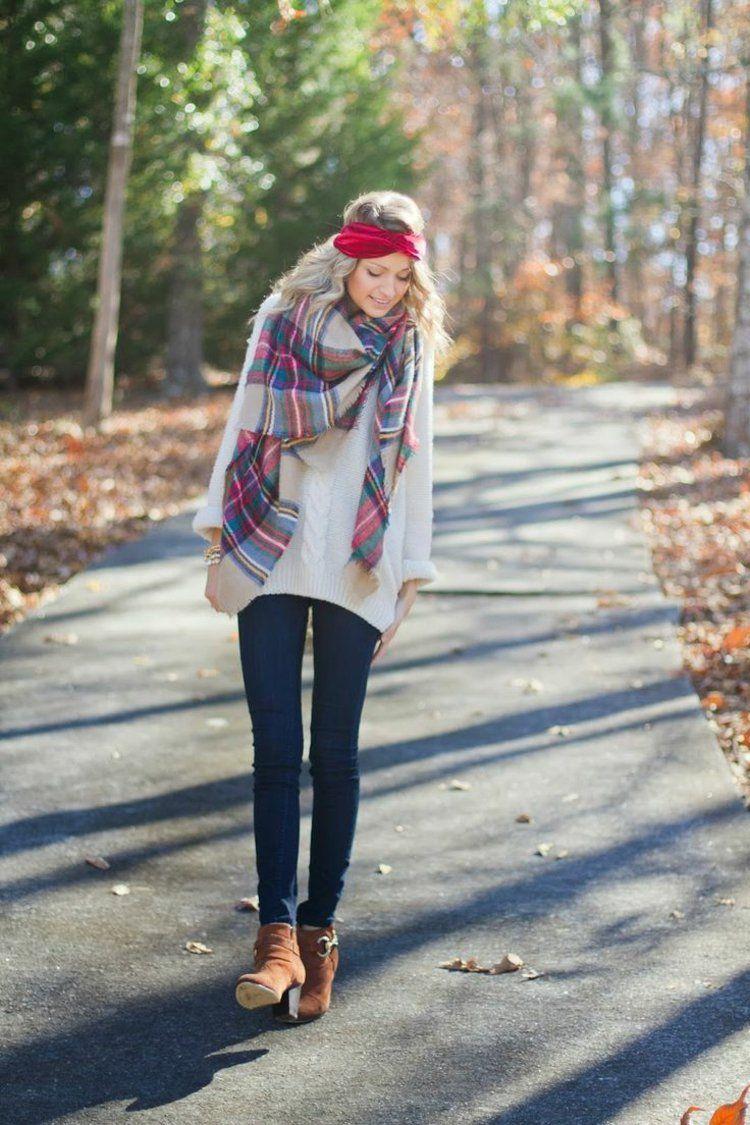 tenue automne avec foulard et bandeau cheveux   Mode   Pinterest ... 13770a26fd3