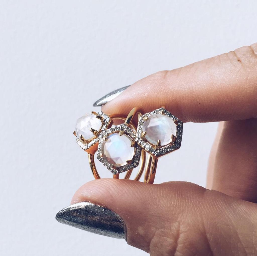 Moonstone & Diamond Hexagon Ring Big wedding rings