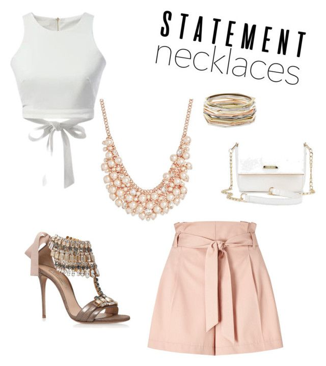 """Peaches and cream"" by natasha-aultman ❤ liked on Polyvore featuring Miss Selfridge, Casadei, Charter Club, Kendra Scott and statementnecklaces"