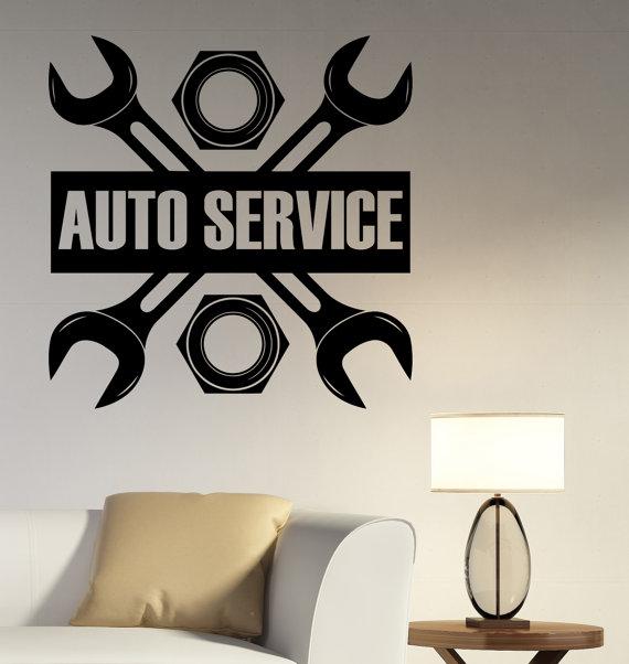 Auto Service Logo Wall Decal Custom Vinyl Sticker Repair Car - Custom vinyl wall decals for garage