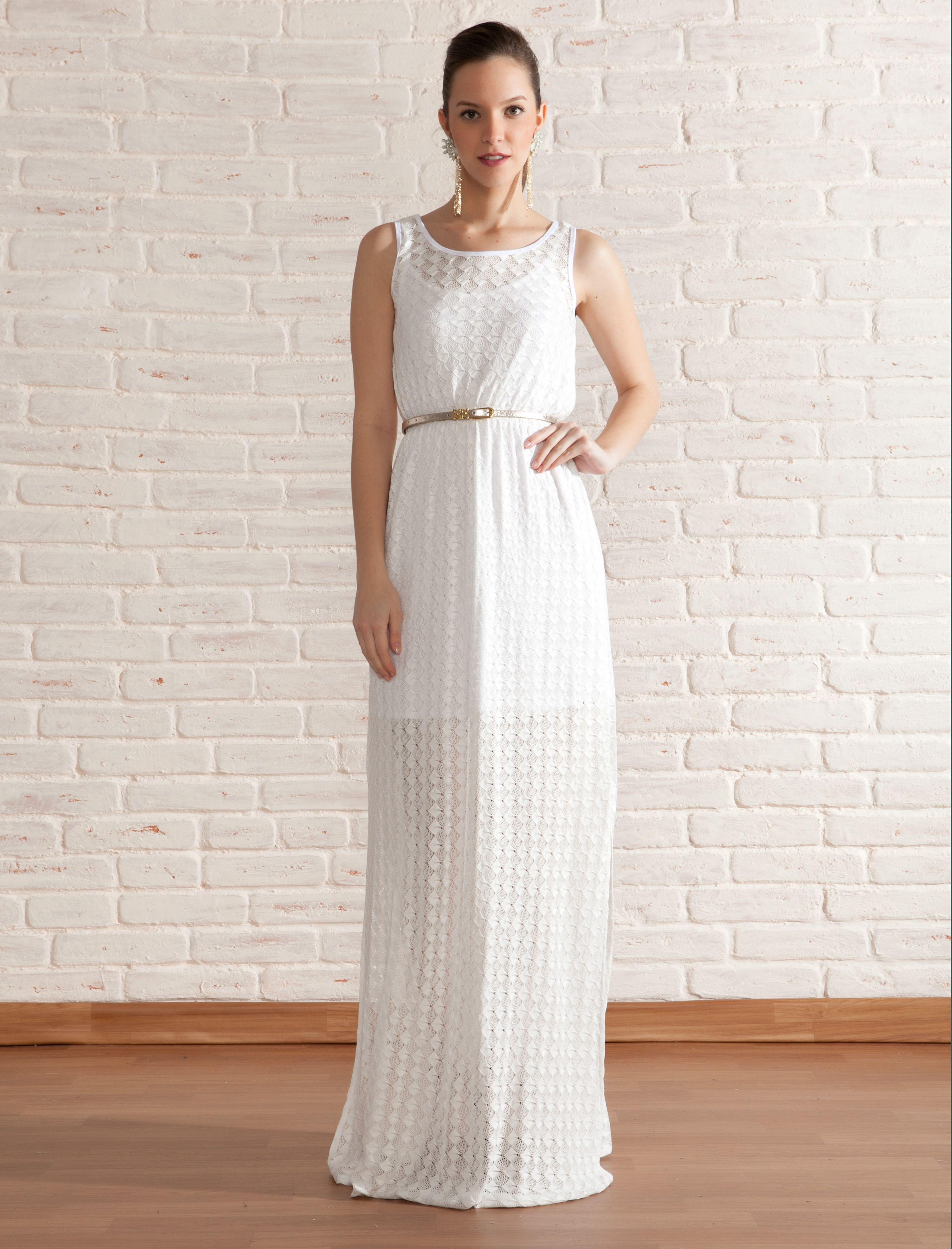a6e9c5faf9f Vestido Longo Malha Losangos - Off White