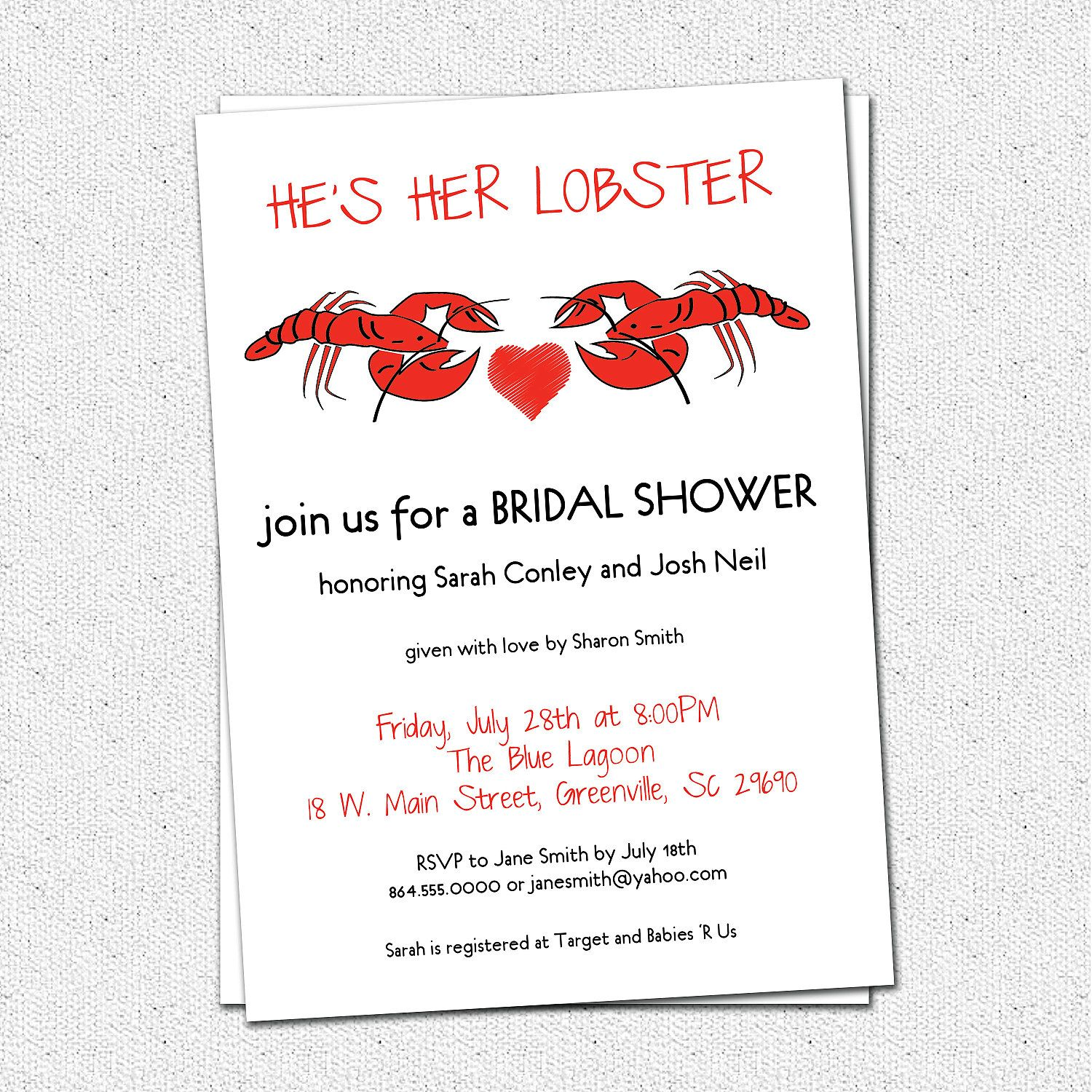 Bridal Couples Shower, Wedding Invitations Printable, Lobster Couple ...