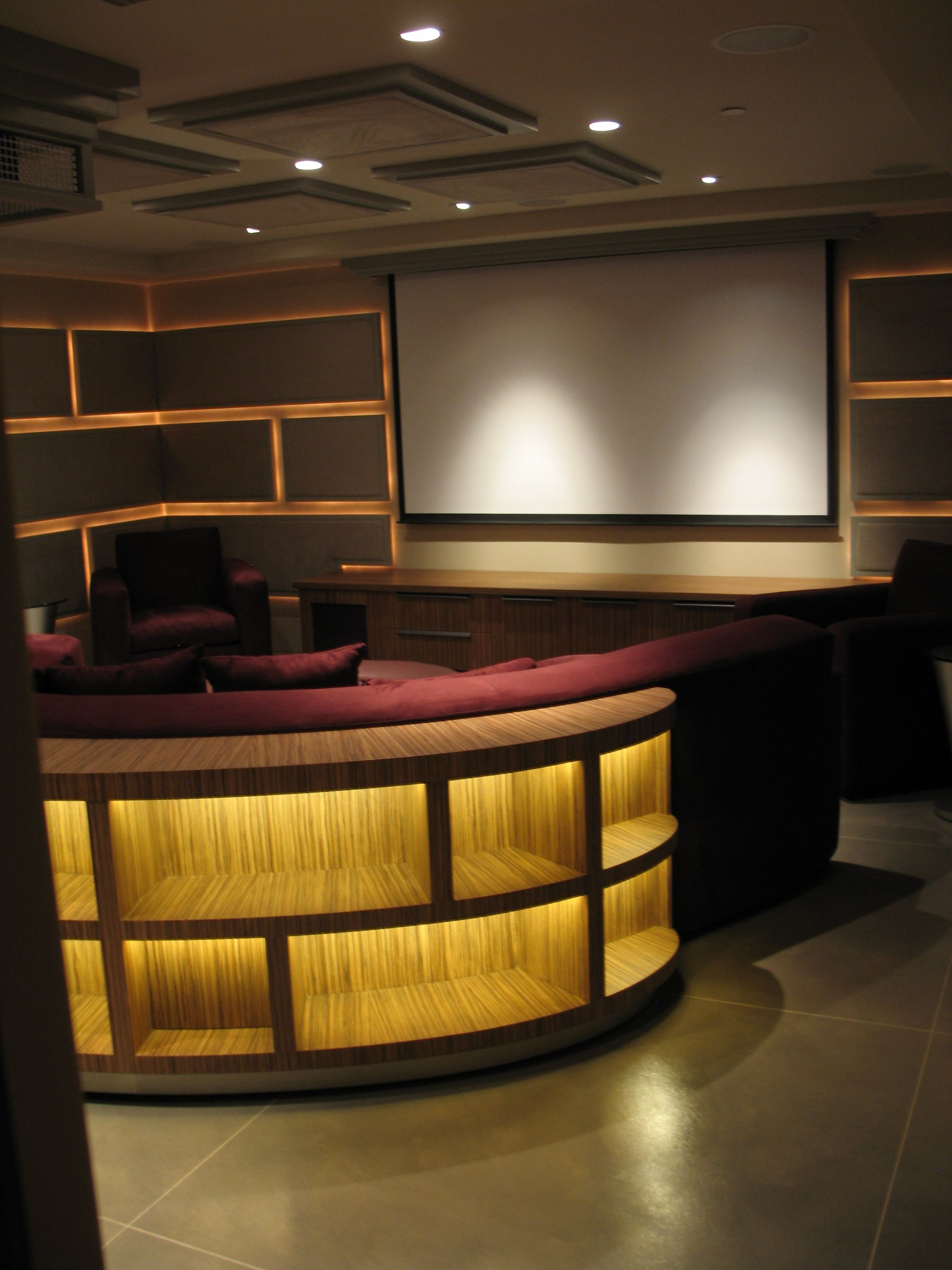 Led Tv Panels Designs For Living Room And Bedrooms: Malibu Theater Room With Acoustic Panels, Lit With LED