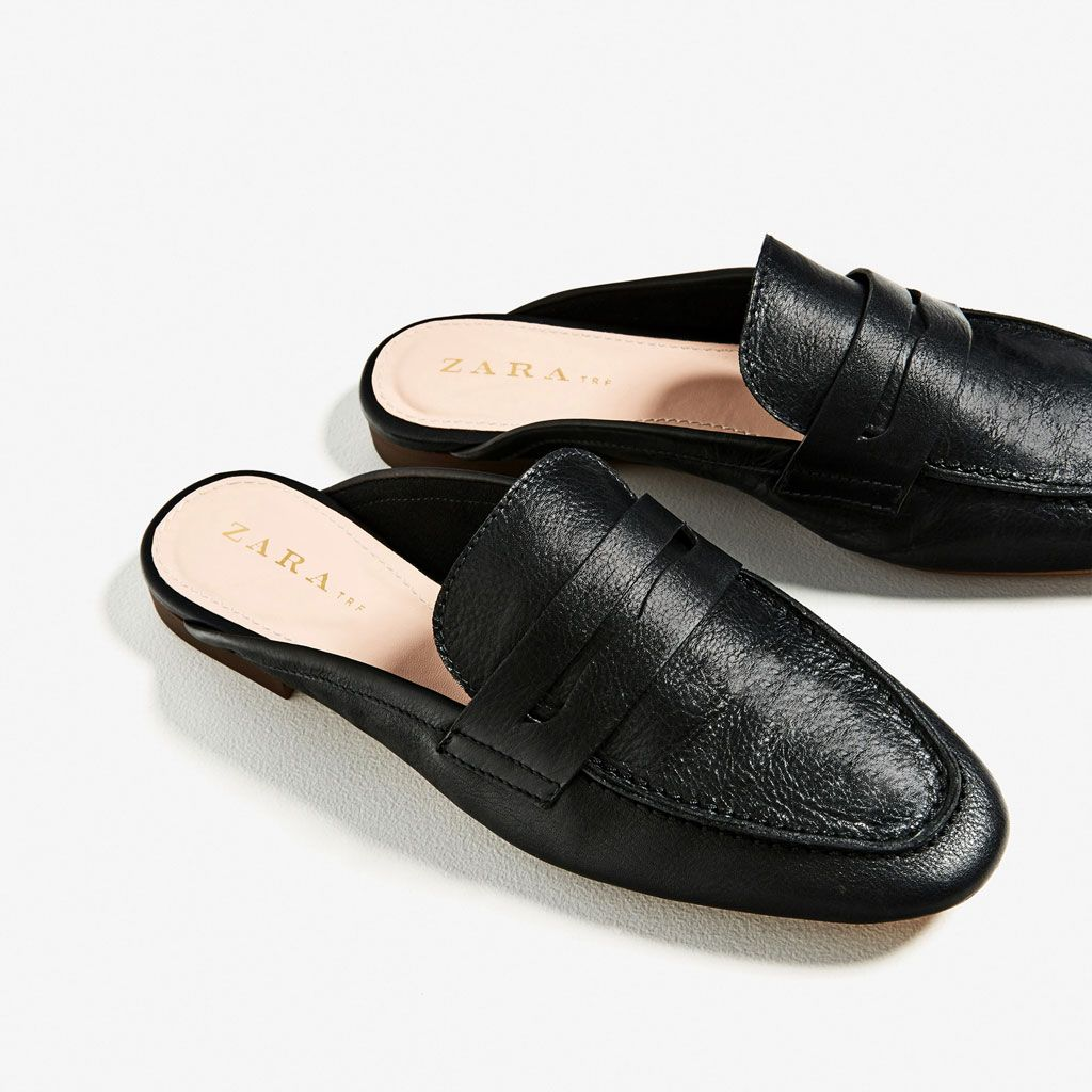Leather Mule Loafers Flats Shoes Woman Zara United