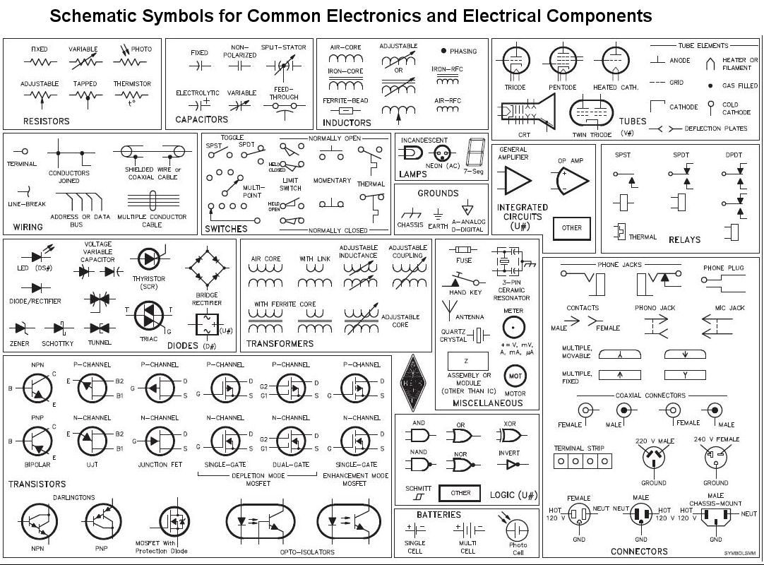 click on image to enlarge circuit schematic symbols schematic schematic symbols of circuitry see actual website for audio led others so cool