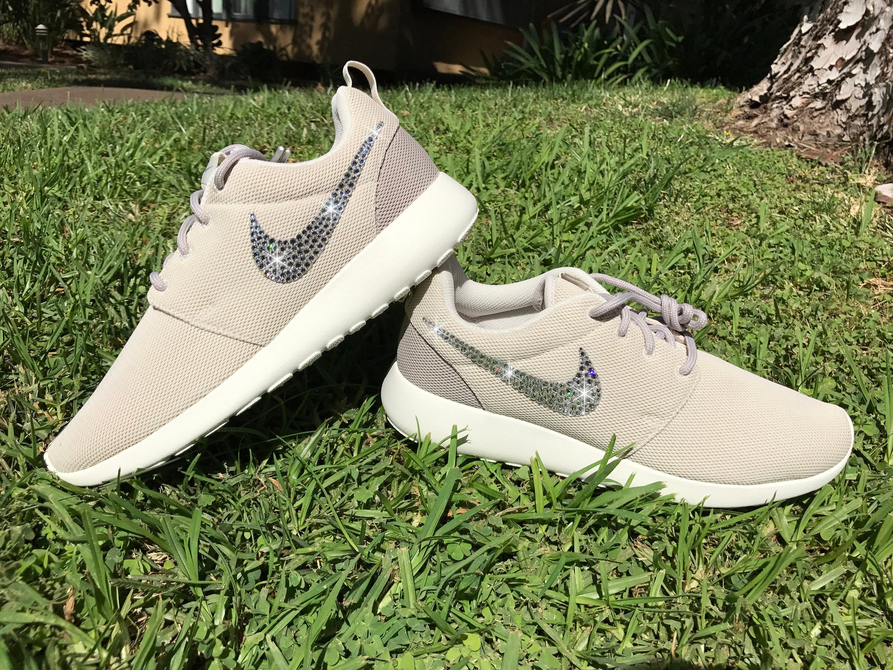 Swarovski Women's Nike Roshe One Run Pink & Navy Sneakers Blinged Out With Authentic Clear Swarovski Crystals Custom Bling Nike Shoes
