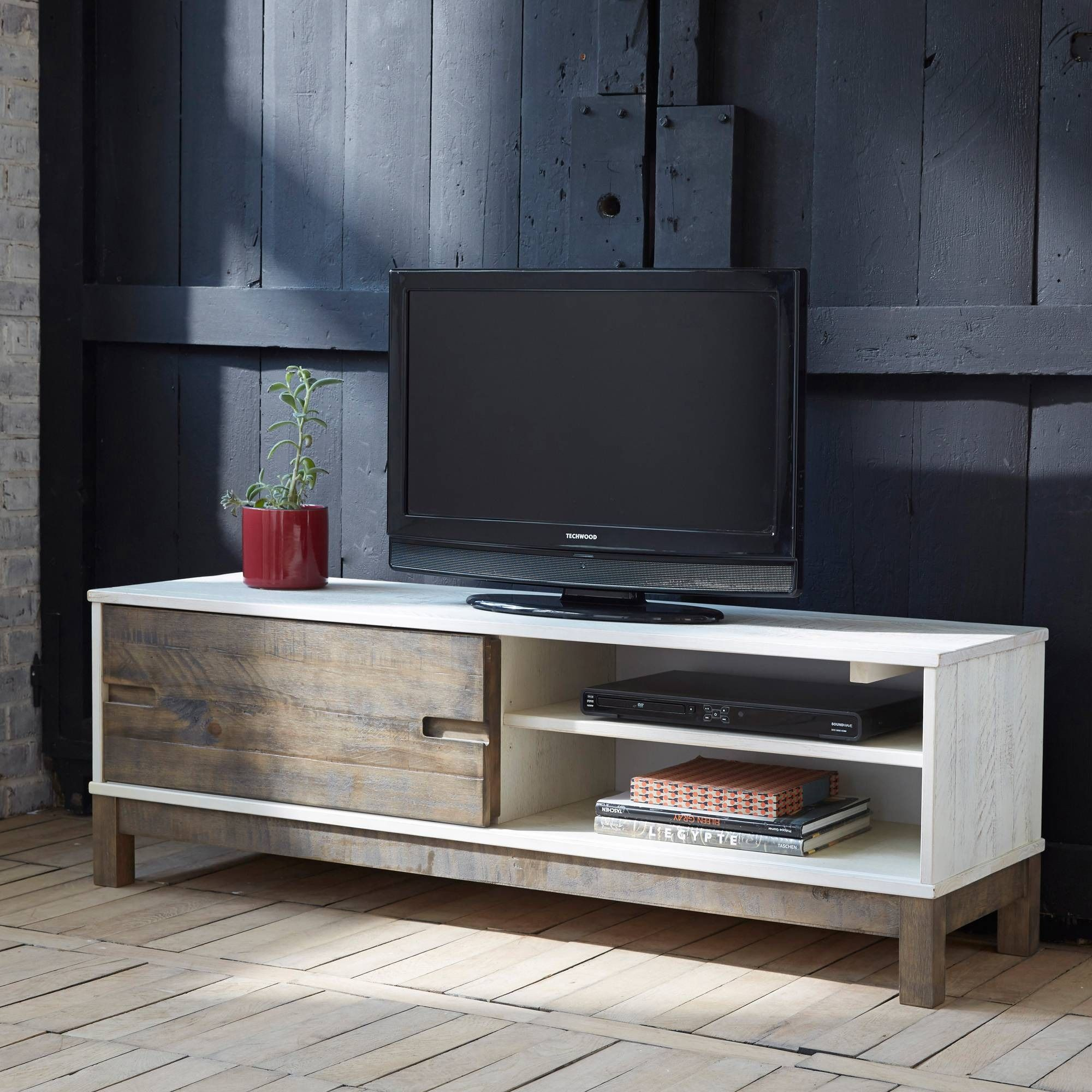 Banc Tv 1 Porte Coulissante 2 Niches Pallet Pin Certifi Fsc 3  # Meuble Tv En Promo