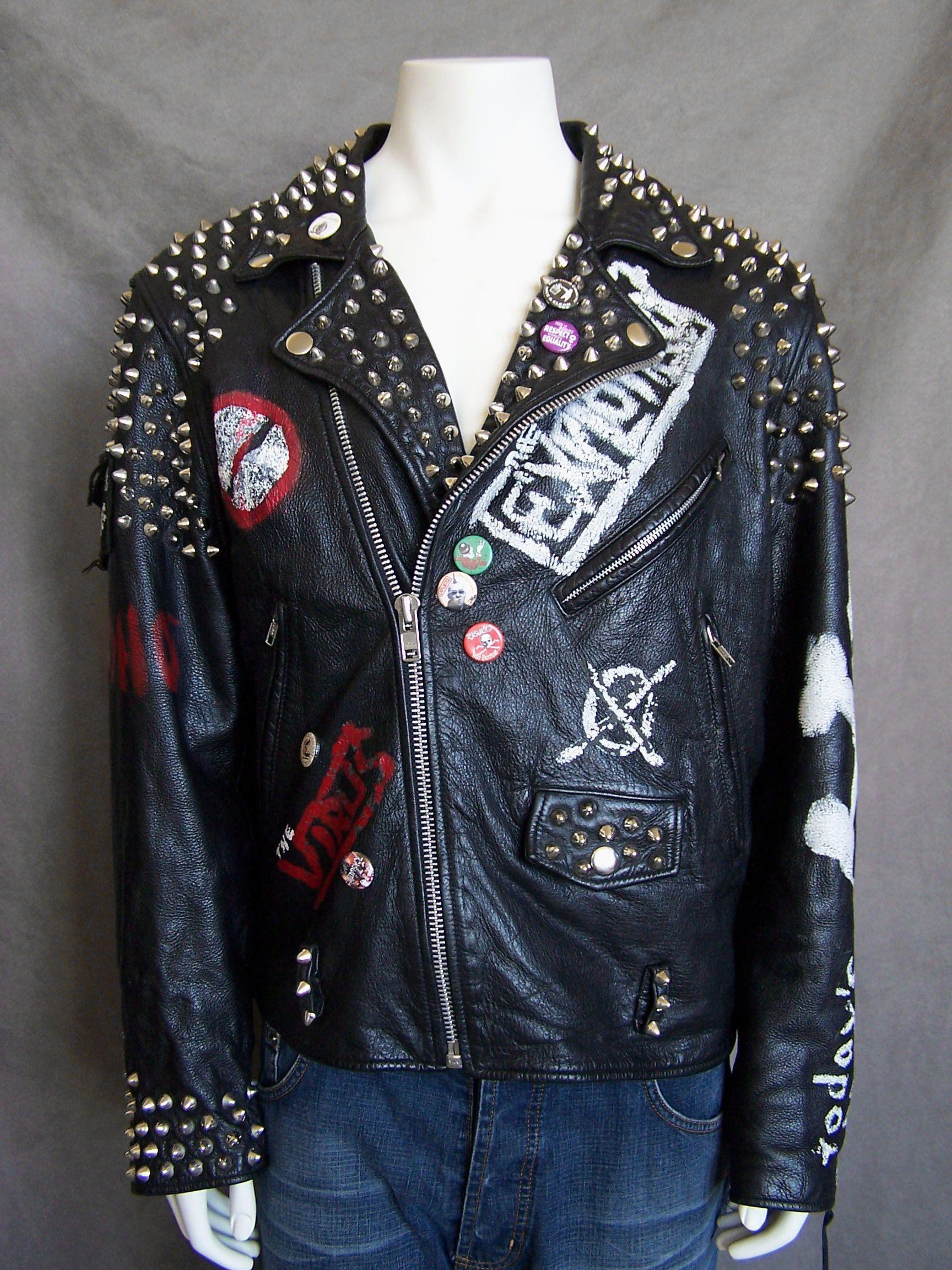 Leather jacket punk - Leather Vtg Punk Leather Studded Biker Jacket
