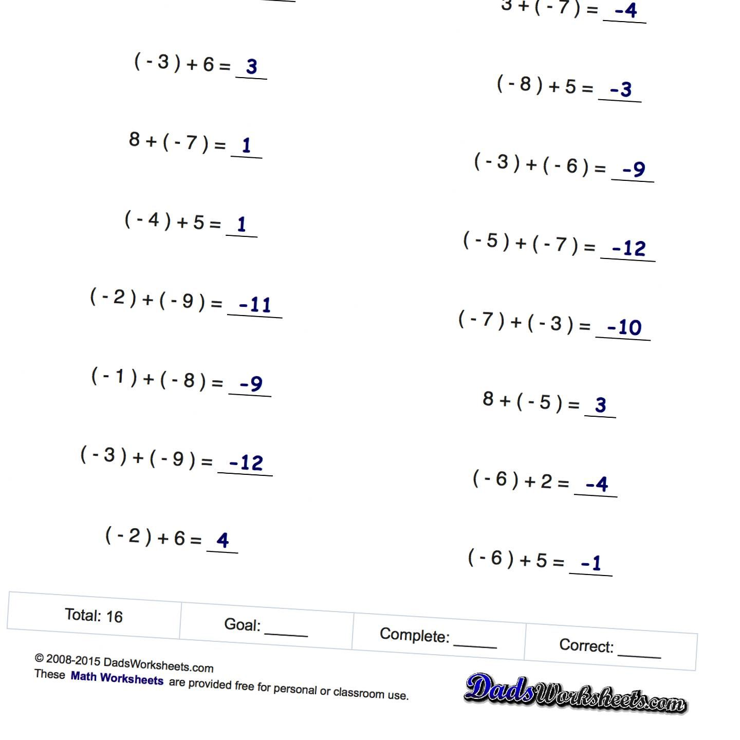 worksheet Adding And Subtracting Negative Numbers Worksheets negative numbers addition and subtraction math worksheets adding subtracting worksheets