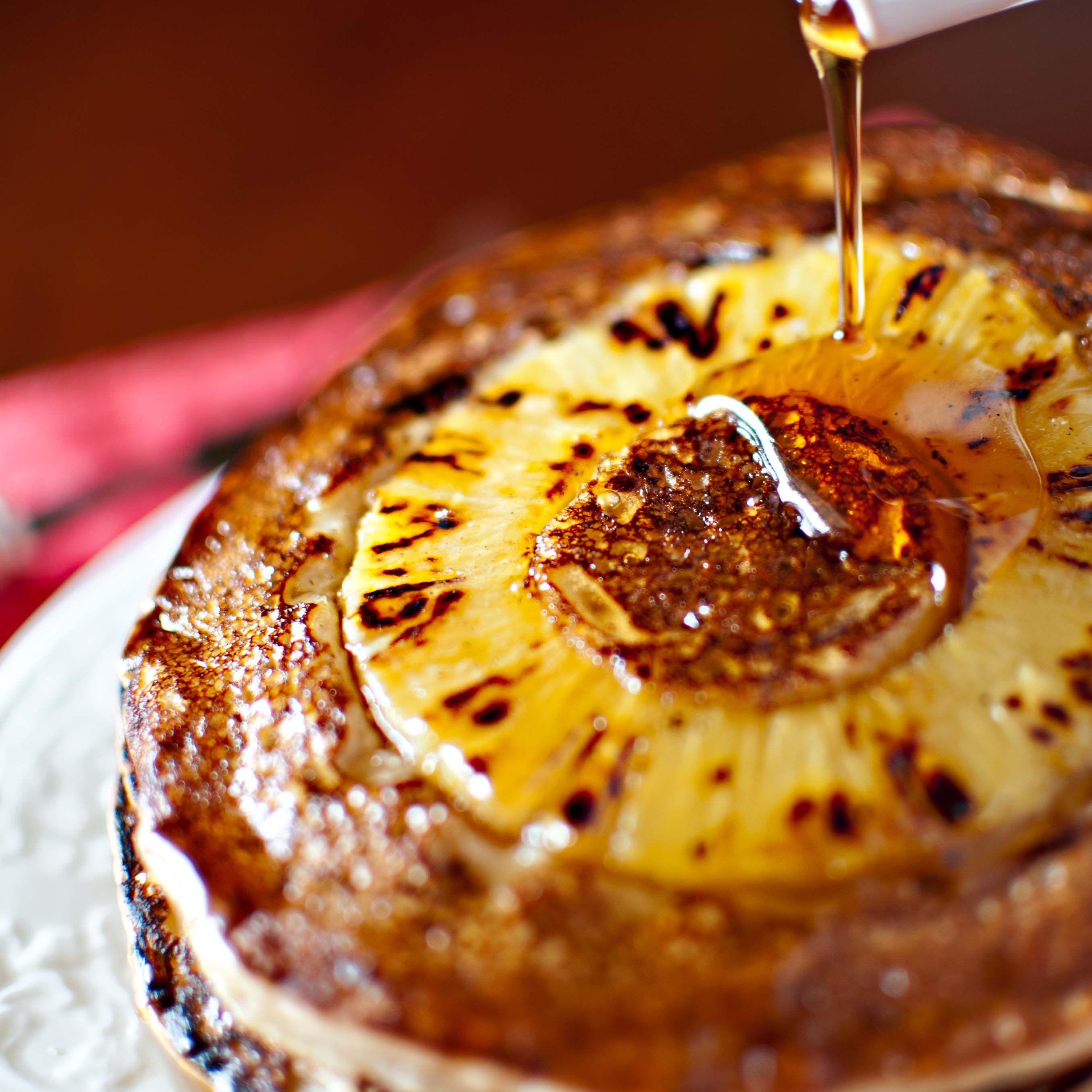 Vegan Pineapple Banana Upside Down Pancake by apronstringsblog #Pancakes #Vegan #Pineapple #Banana