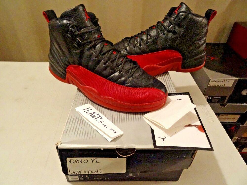wholesale dealer d29f5 d605f 2003 Nike Air Jordan XII 12 Retro BLACK RED BRED FLU GAME BANNED 136001063  SZ 11