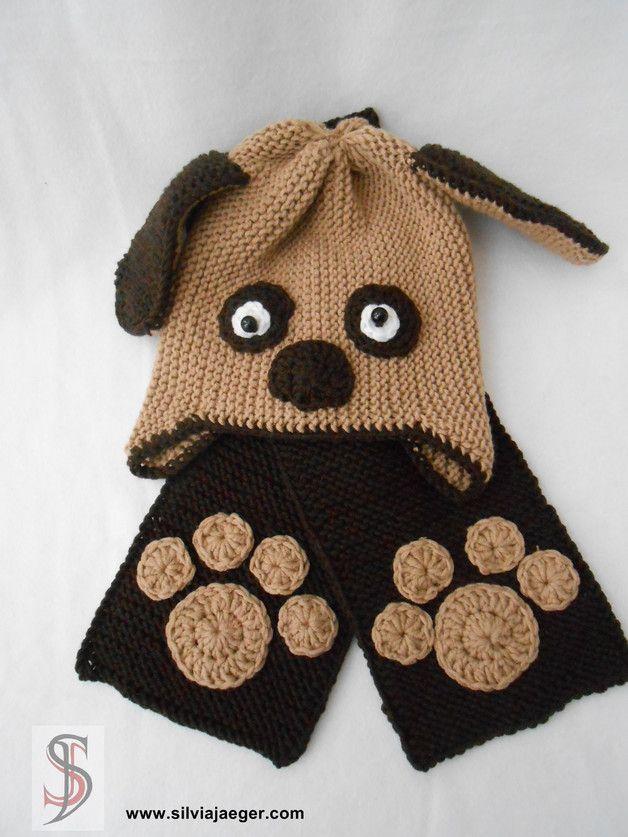 Mützen - Mütze + Schal - Hund - ein Designerstück von SilviaJaeger ...