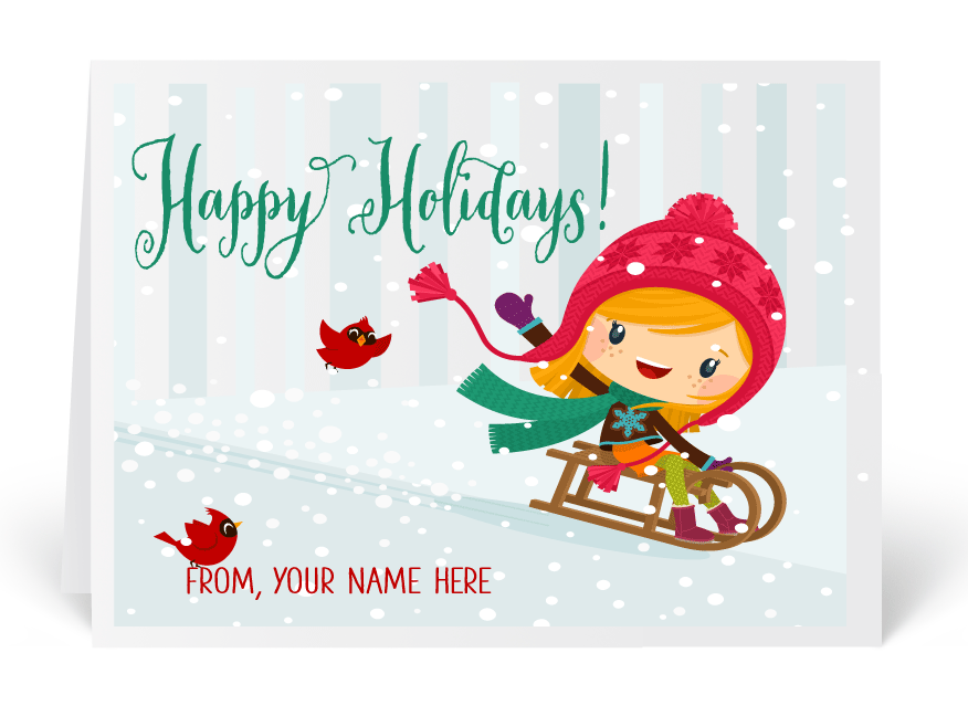 Whimsical Christmas Holiday Greeting Card, cute holiday cards ...
