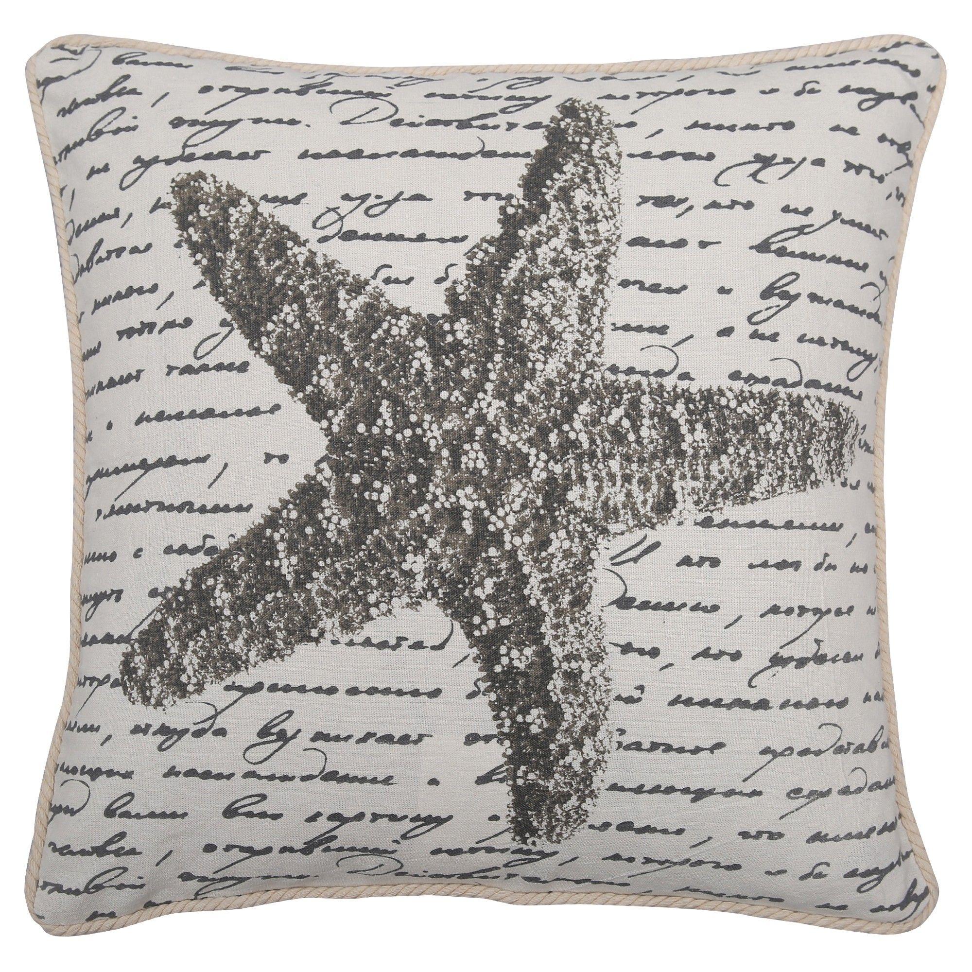 Gray Seashell Throw Pillow Lush Decor