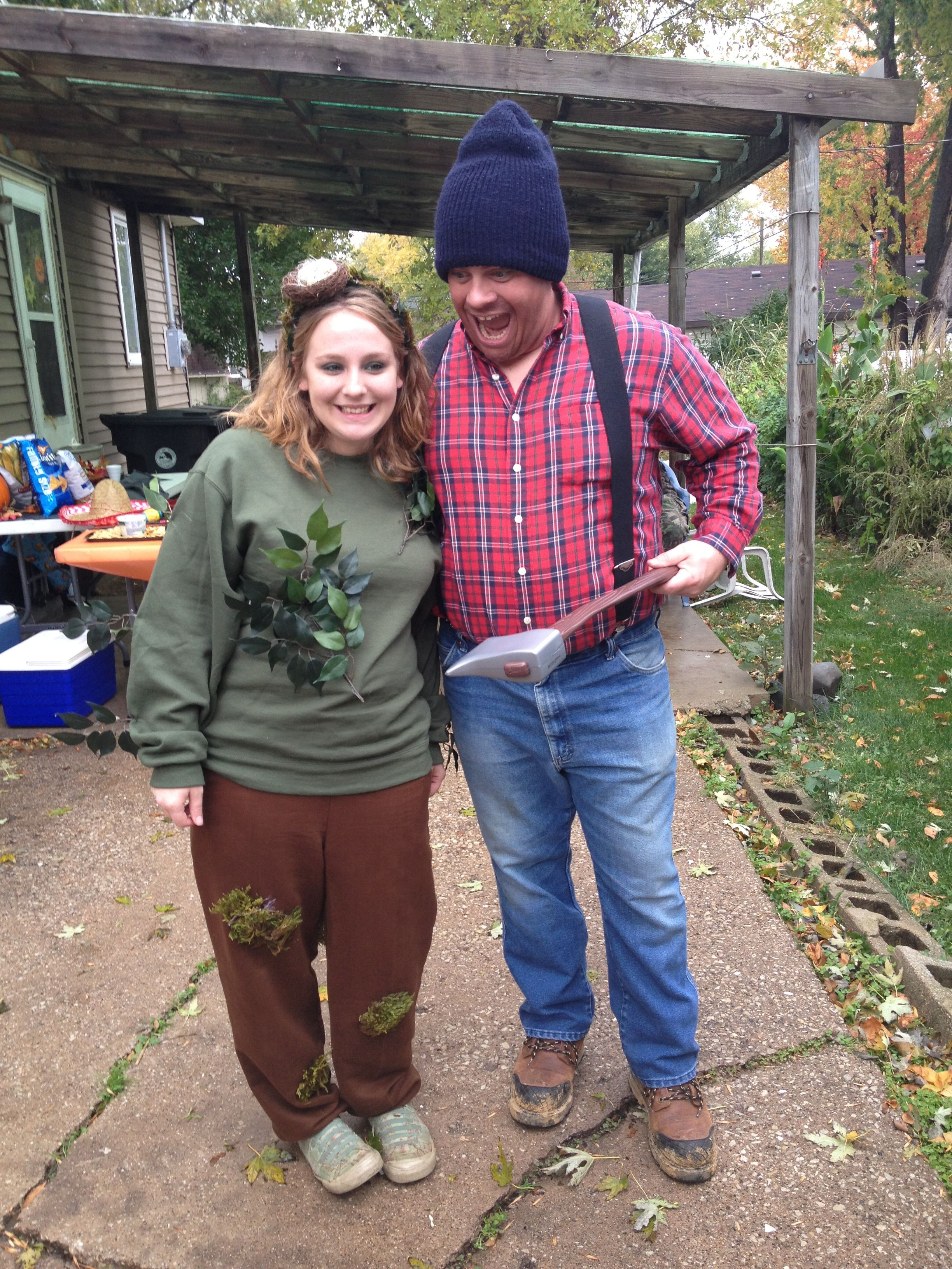 Homemade Couples Costume Tree And Lumber Jack