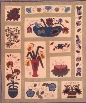 Wooly Flower Sampler Block a Month with Flannel Background & Wools