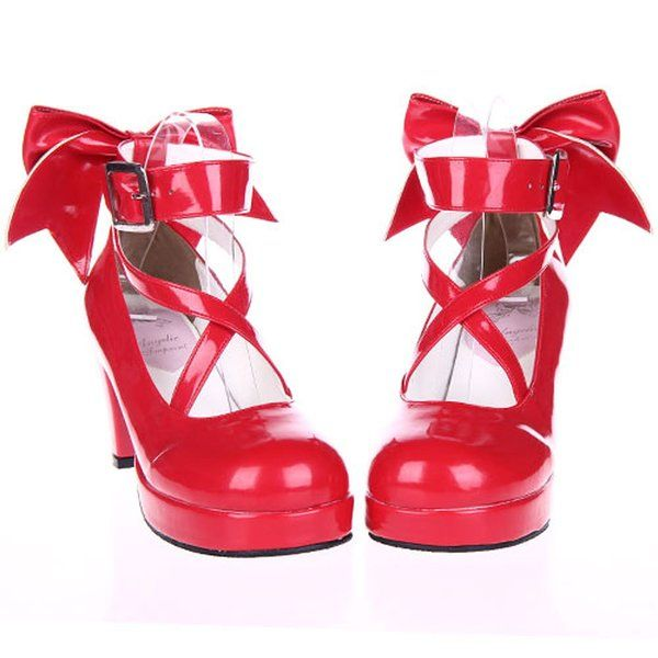 Red 70MM Heel Ankle-High Round-Toe PU Lolita Pumps-Shoes-8 B(M) US
