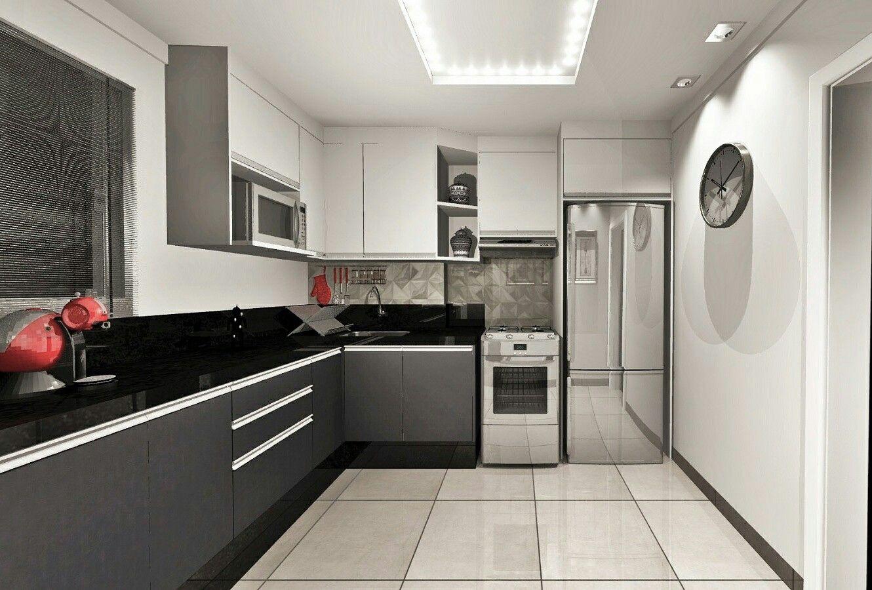 Cozinha Projeto Planejado Cor Cinza Onix E Branco Estilo Industrial
