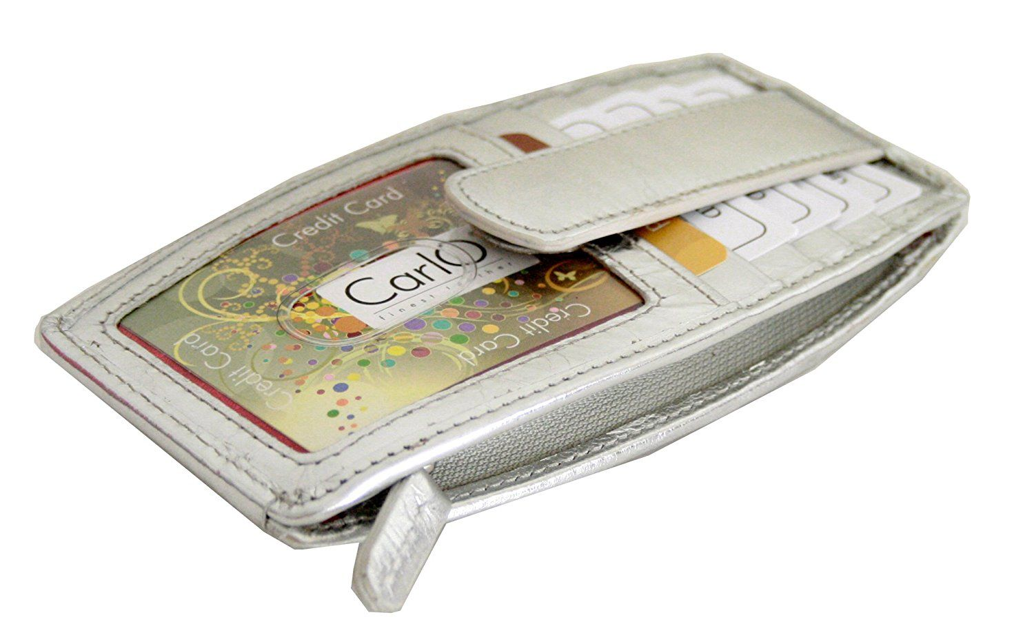 Genuine leather flat credit card wallet with side zip