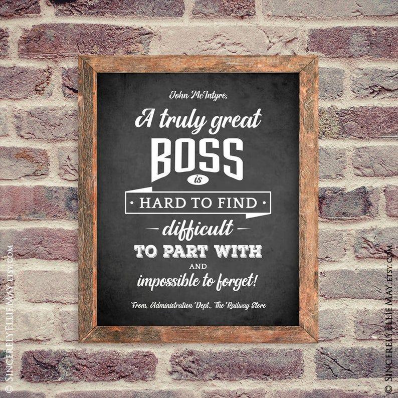 Boss Man Gifts Appreciation Customized Recognition Chalkboard Etsy Chalkboard Wall Art Personalized Wall Art Wall Art Gift