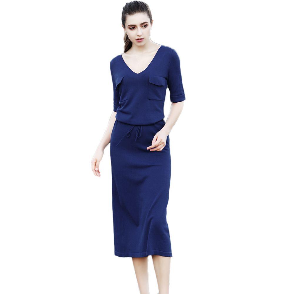 Brand women sexy vneck slim dress hot sale spring summer max