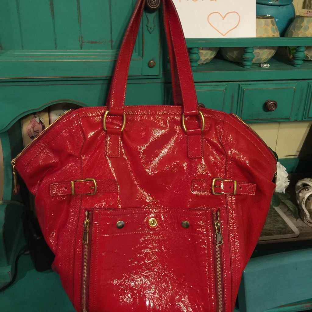 YSL Downtown tote bag red patent leather gold   Products   Ysl ... 46d4c60200