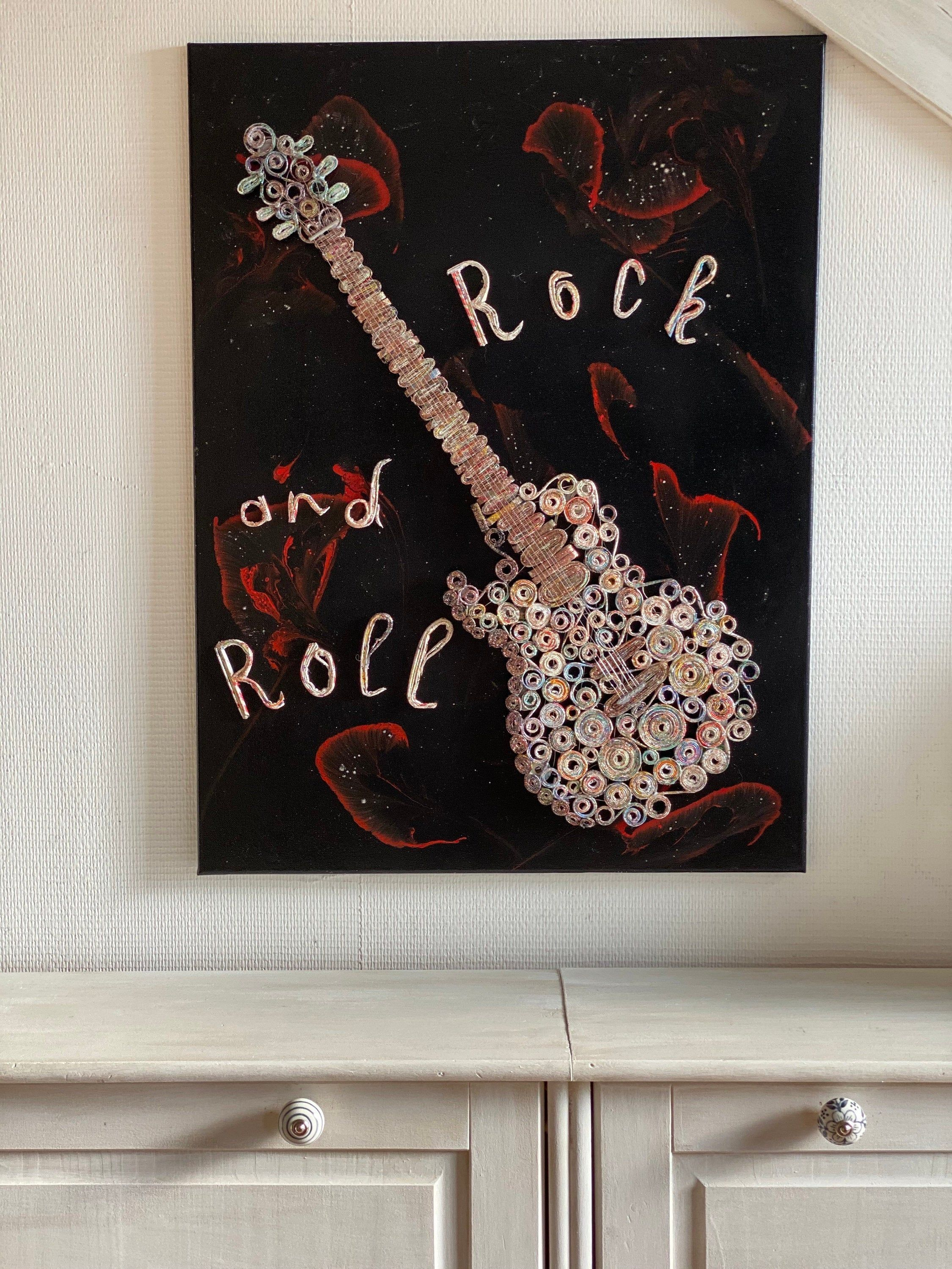 Table Decoration Wall Art Guitar Electric Paper And Green Led Handmade Green Led Paper