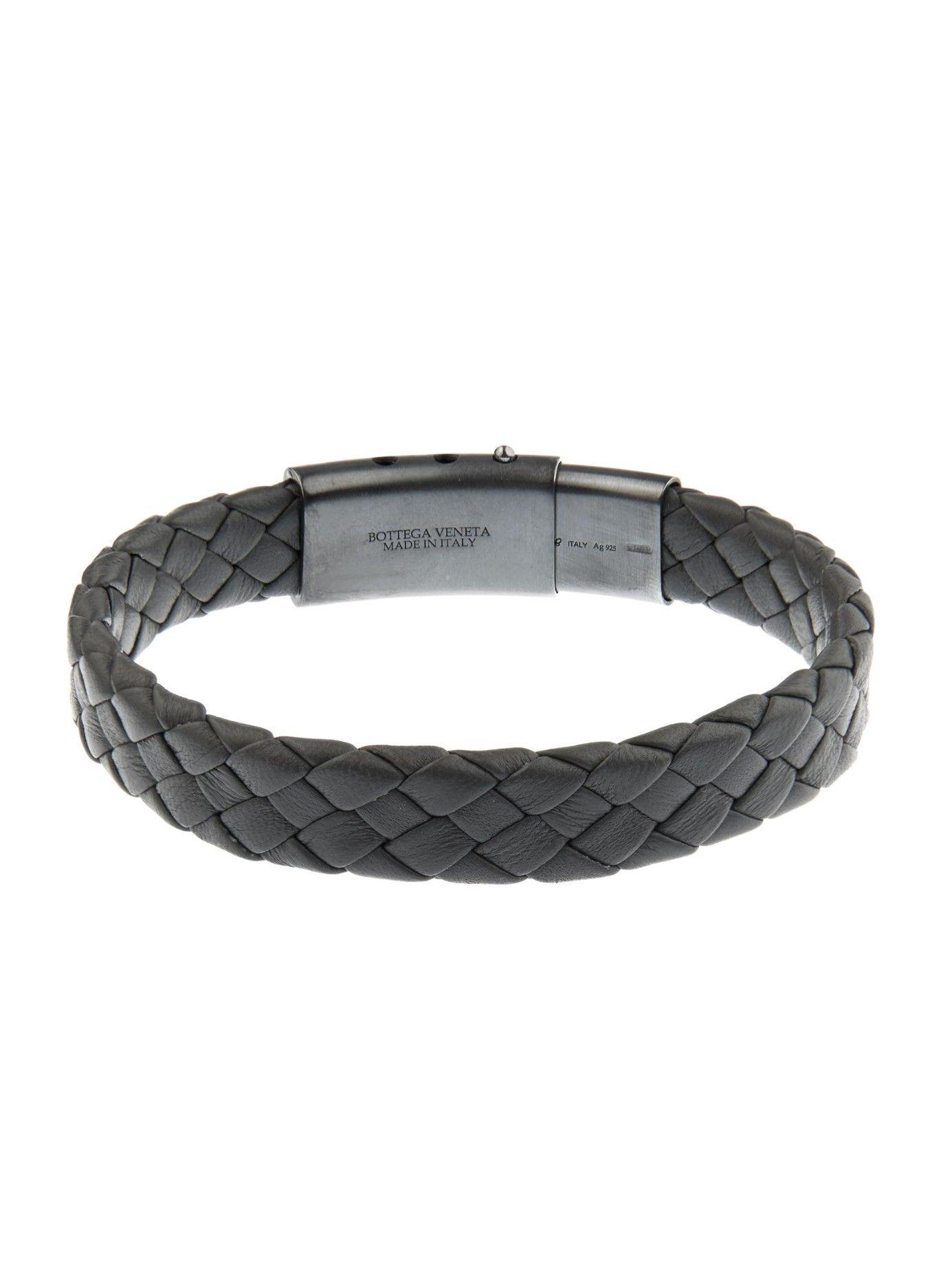 add634f80357b Bottega Veneta Flat Intrecciato Leather Bracelet in Gray for Men (GREY) |  Lyst