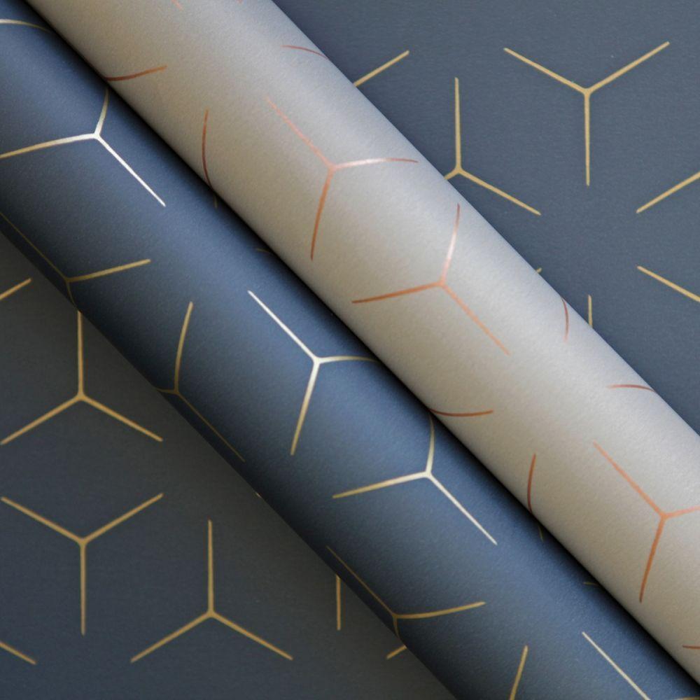 Metro Illusion Geometric Wallpaper Navy Blue And Gold Wow005 Geometric Wallpaper Navy Geometric Wallpaper Geometric Wall