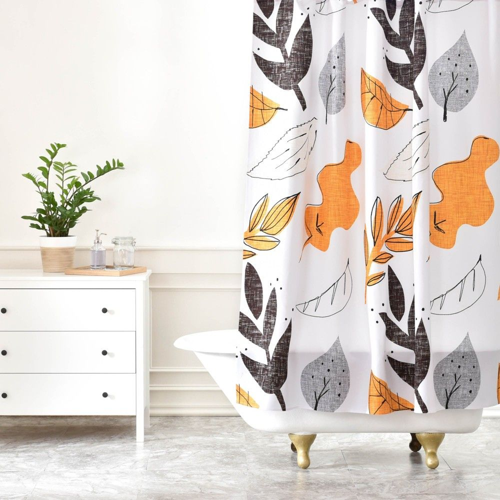 Fall Leaves Shower Curtain Gray Deny Designs In 2020 Fall Shower Curtain Curtains Grey Curtains