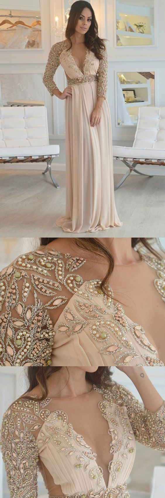 Aline round neck open back champagne chiffon prom dress with