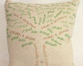 Cute, cute.  A custom family tree pillow - on Etsy!  Love this idea for a gift for Grandma.